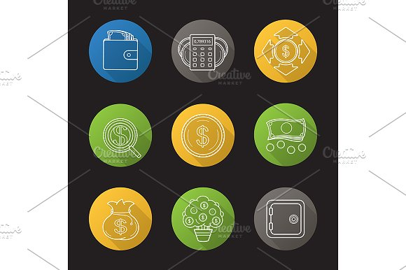 Banking and finance. 9 icons. Vector - Icons