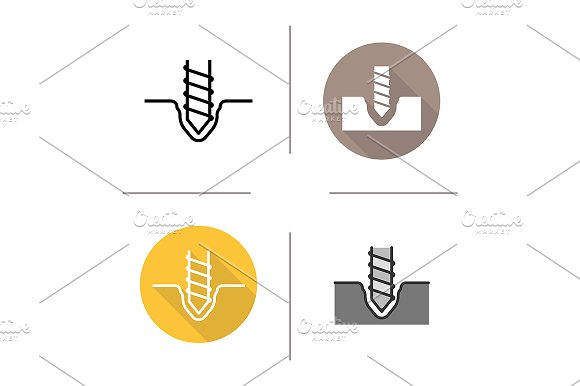 Drilling 4 Icons Vector