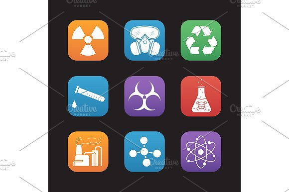 Chemical Industry 9 Icons Vector
