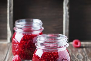 Homemade jam with raspberry