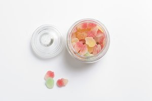colourful mashmallows in the glass bottle