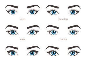 Types of eye makeup. Eyeliner shape.