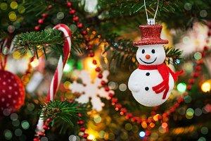 Snowman on xmas tree