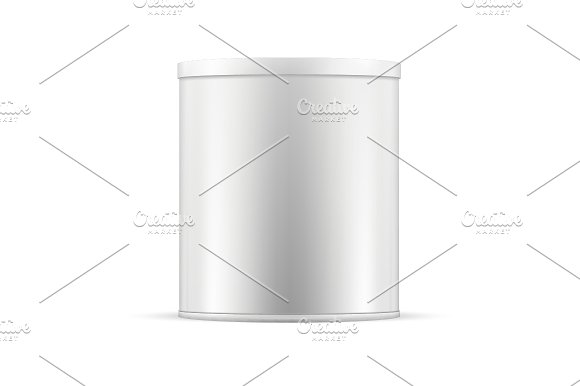 White tin can with plastic cap. Ai - Objects