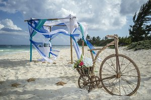beach wedding gazebo setup