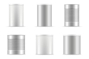 Tin can collection. Vector set. Ai..