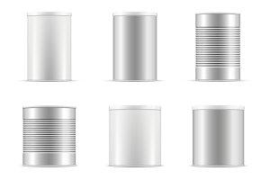 Tin can collection. Vector set. Ai..