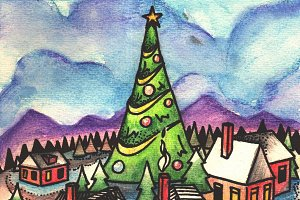 Watercolor Christmas Town Hand Draw