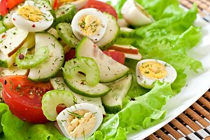 Salad of tomatoes, cucumbers