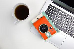 Orange Retro Camera + Computer