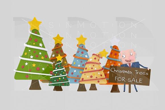 3d illustration. Xmas tree seller. - Illustrations