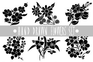 Hand Drawn Flowers and Patterns Set