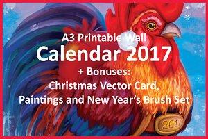 Printable Calendar 2017 'Rooster+'