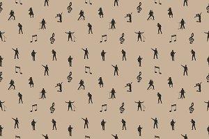 Beige vector music seamless pattern