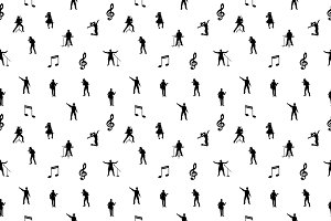 B/w vector music seamless pattern