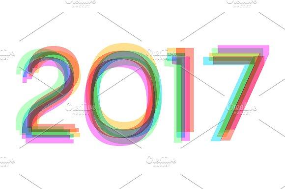Rainbow Happy New Year 2017 Concept Symbol Fonts Creative Market