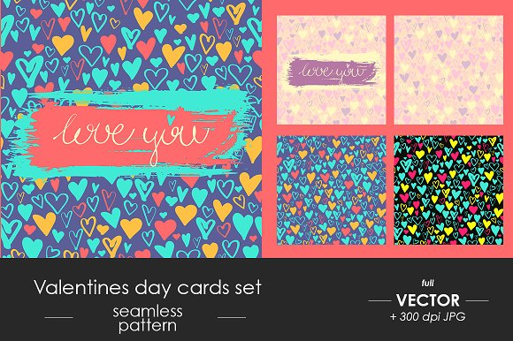 Valentines Day You Cards Set Pattern