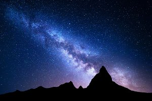Night landscape with Milky Way