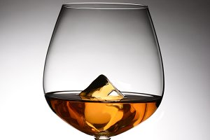 Brandy Snifter With Ice Cube