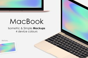 MacBook Isometric & Simple Mockups