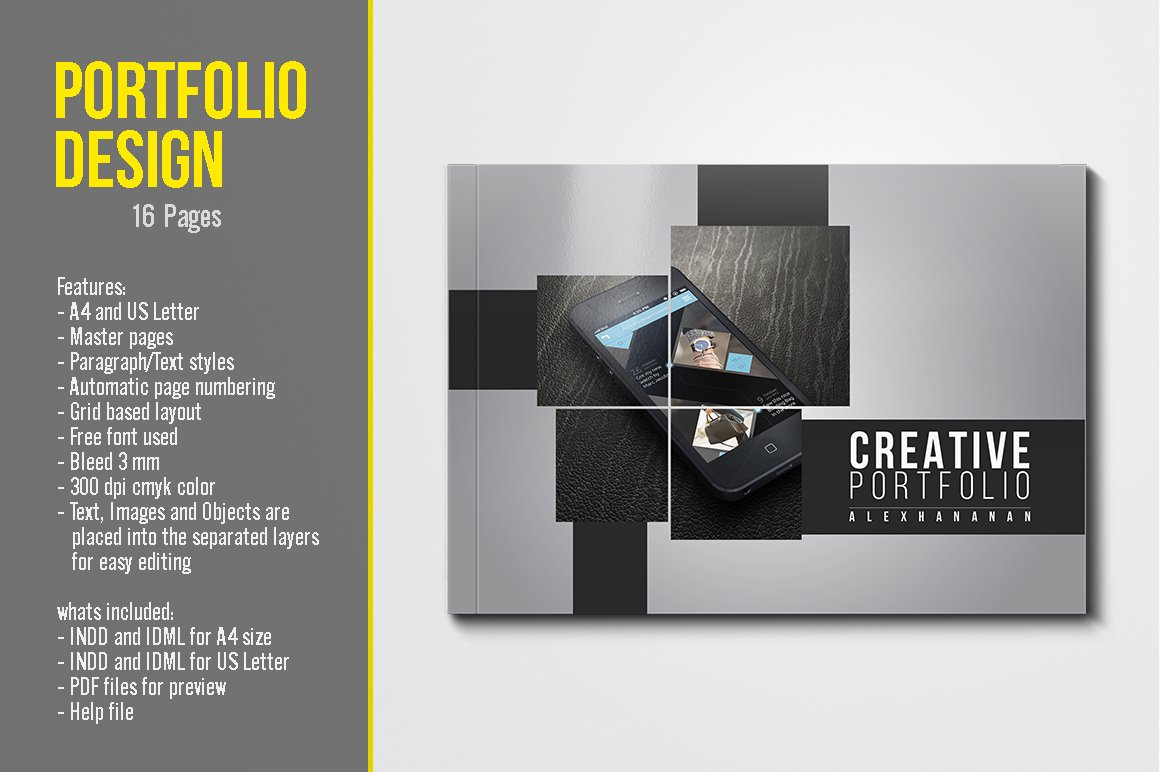 Portfolio template brochure templates creative market for Graphic designer portfolio template free download