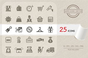 Shopping and Finance icons. Vector