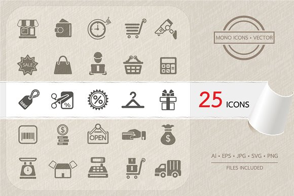 Shopping And Finance Icons Vector