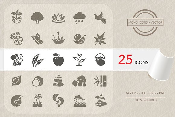 Nature icons set. Vector - Icons
