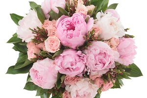 Peonies and roses bouquet from above