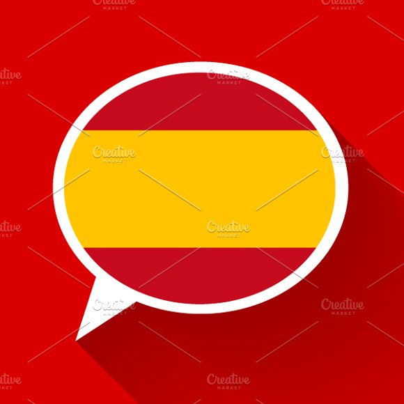 White Speech Bubble With Spain Flag
