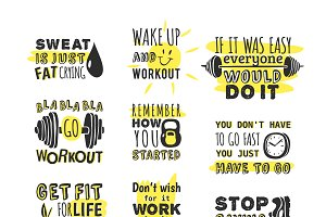 Sport motivation phrases vector
