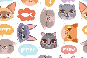 Cat head seamless pattern vector