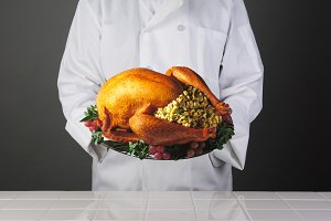 Chef With Thanksgiving Turkey