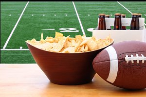 Chips, Football, Six Pack Beer TV