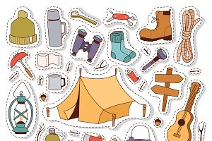 Camping stickers in hand drawn style