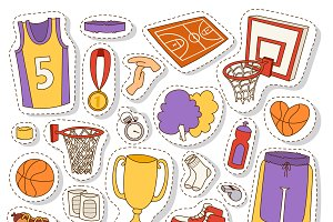Basketball stickers icons vector
