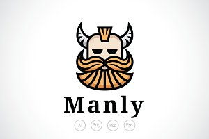 Horned Man with Beard Logo Template