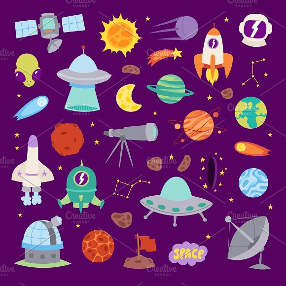 Vector Astronomy Icons Stickers Set