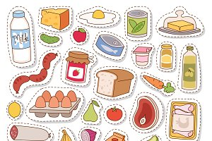 Everyday food icons patchwork