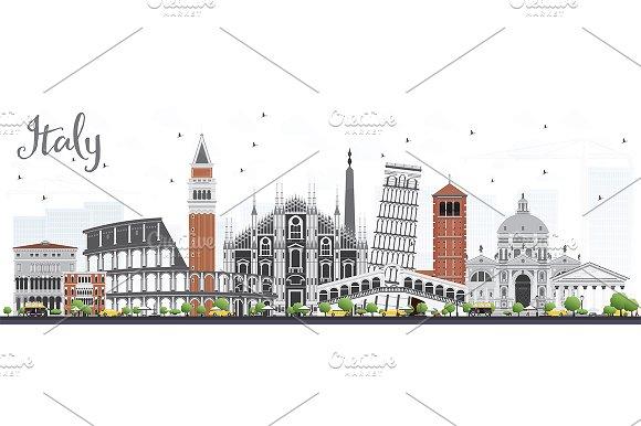 Italy Skyline With Landmarks