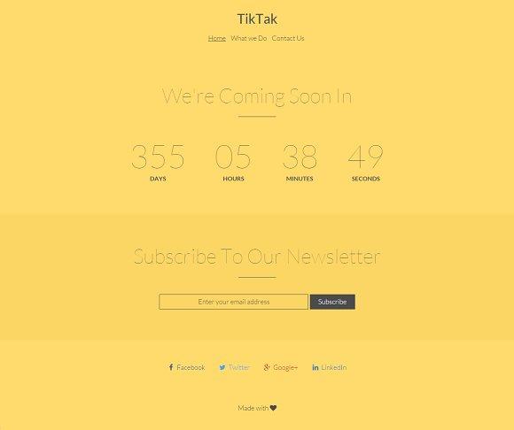 TikTak - coming soon responsive HTML