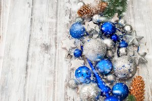 Marry christmas decoration dlue ball