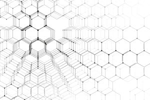 Chemistry 3D pattern on white