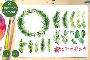 Watercolor Christmas set, wreath
