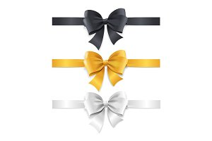 Luxury Bows and Ribbons Set. Vector
