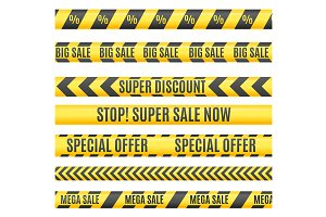 Sale Labels Yellow Line Strip, Tape