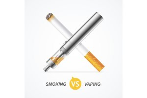 Smoking vs Vaping. Vector