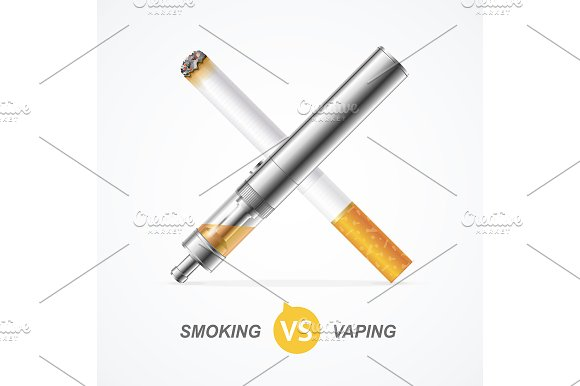 Smoking vs Vaping. Vector - Illustrations