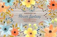 Flower fantasy set. Watercolor.