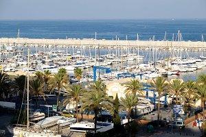 marina with boats